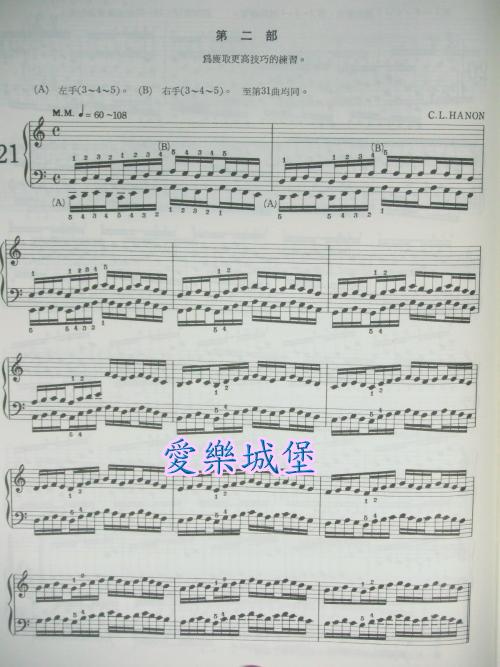 自学钢琴,弹哈农1带指法的谱子,说练习4指5指可是还是不知道哪