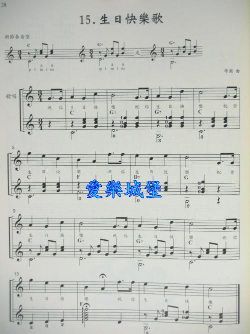 生日快乐歌钢琴谱 生日快乐歌钢琴谱简谱 生日快乐歌 钢琴谱 钢琴谱入